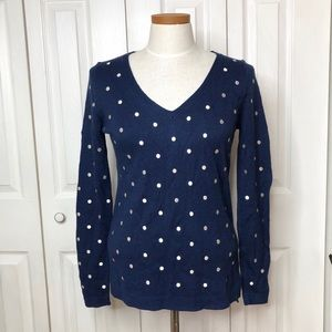 Old Navy v-neck sweater, embroidered polka dots